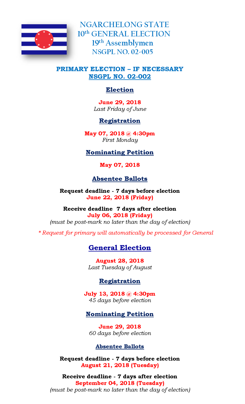 ELECTION GENERAL DATES