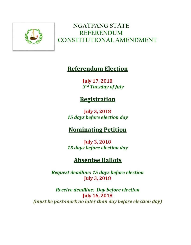 ELECTION DATES - NGATPANG REFERENDUM
