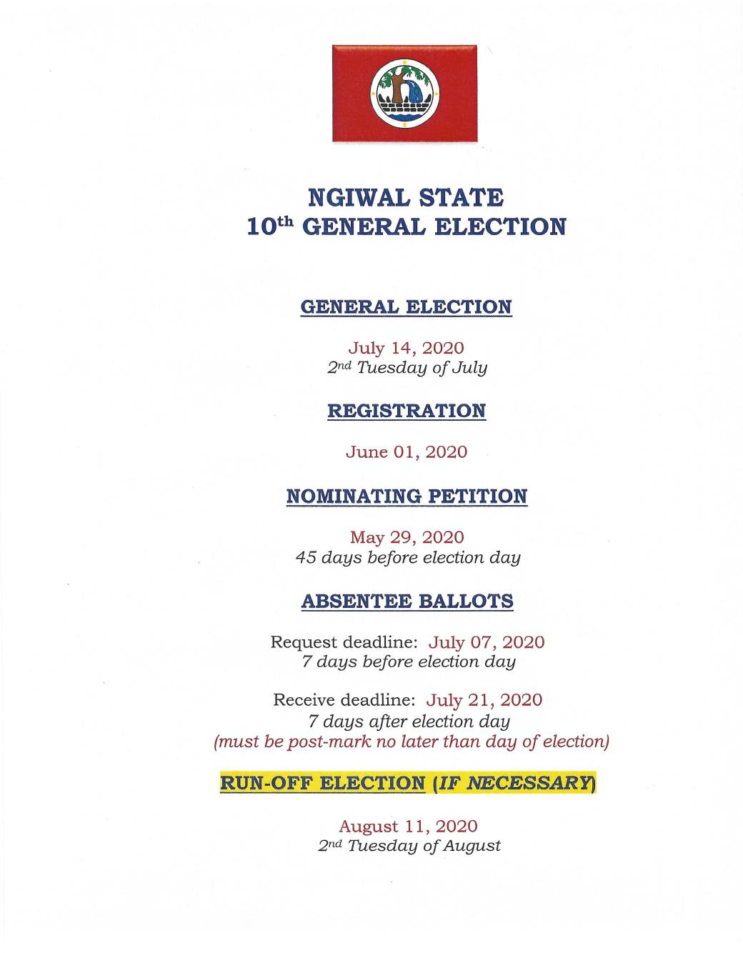 Ngiwal State 10th General Election Dates