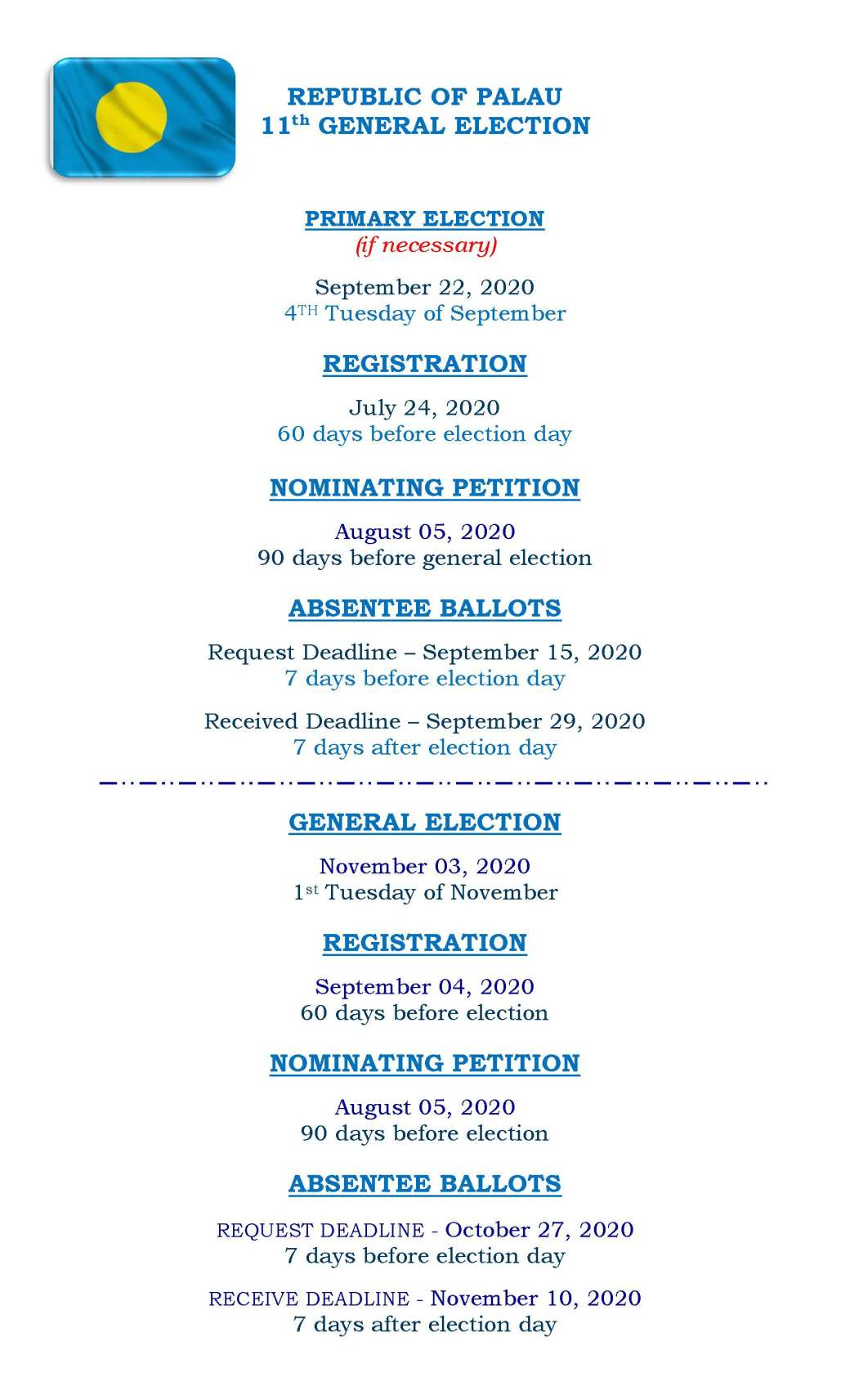 ROP GENERAL ELECTION DATES