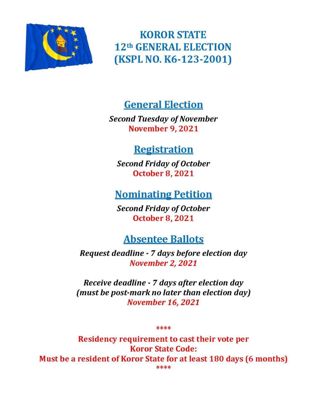 KOROR ELECTION DEADLINE DATES