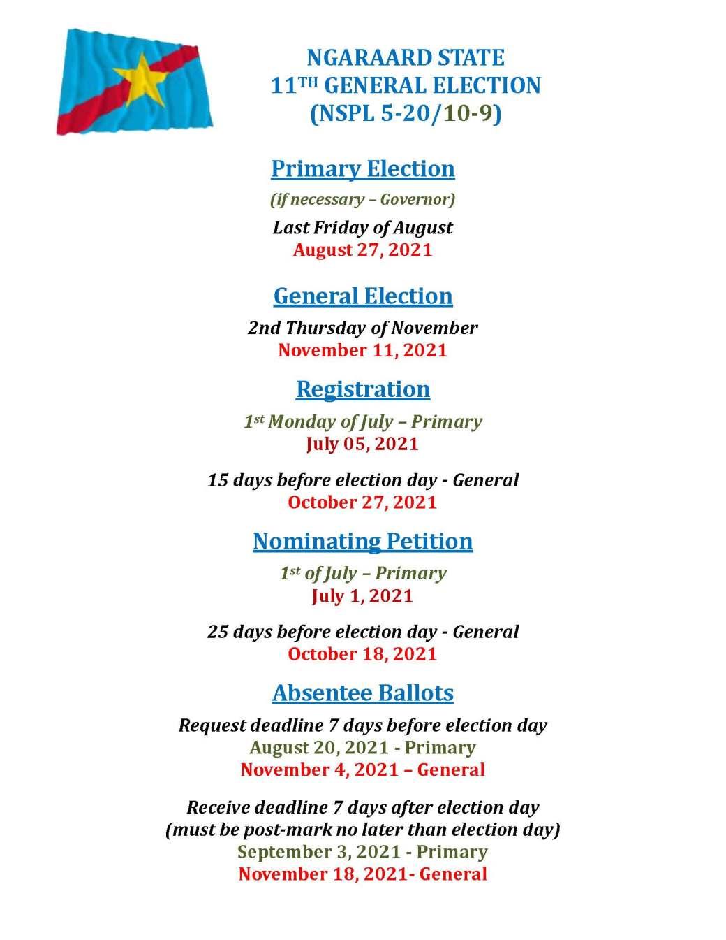 NGARAARD ELECTION DEADLINE DATES