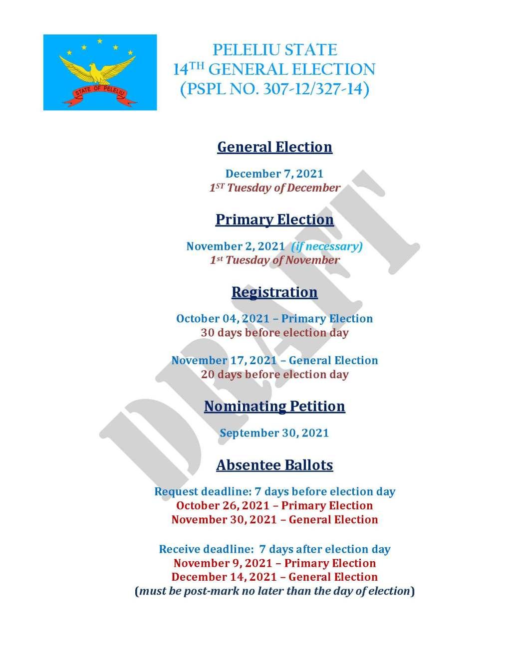 PELELIU ELECTION DATES