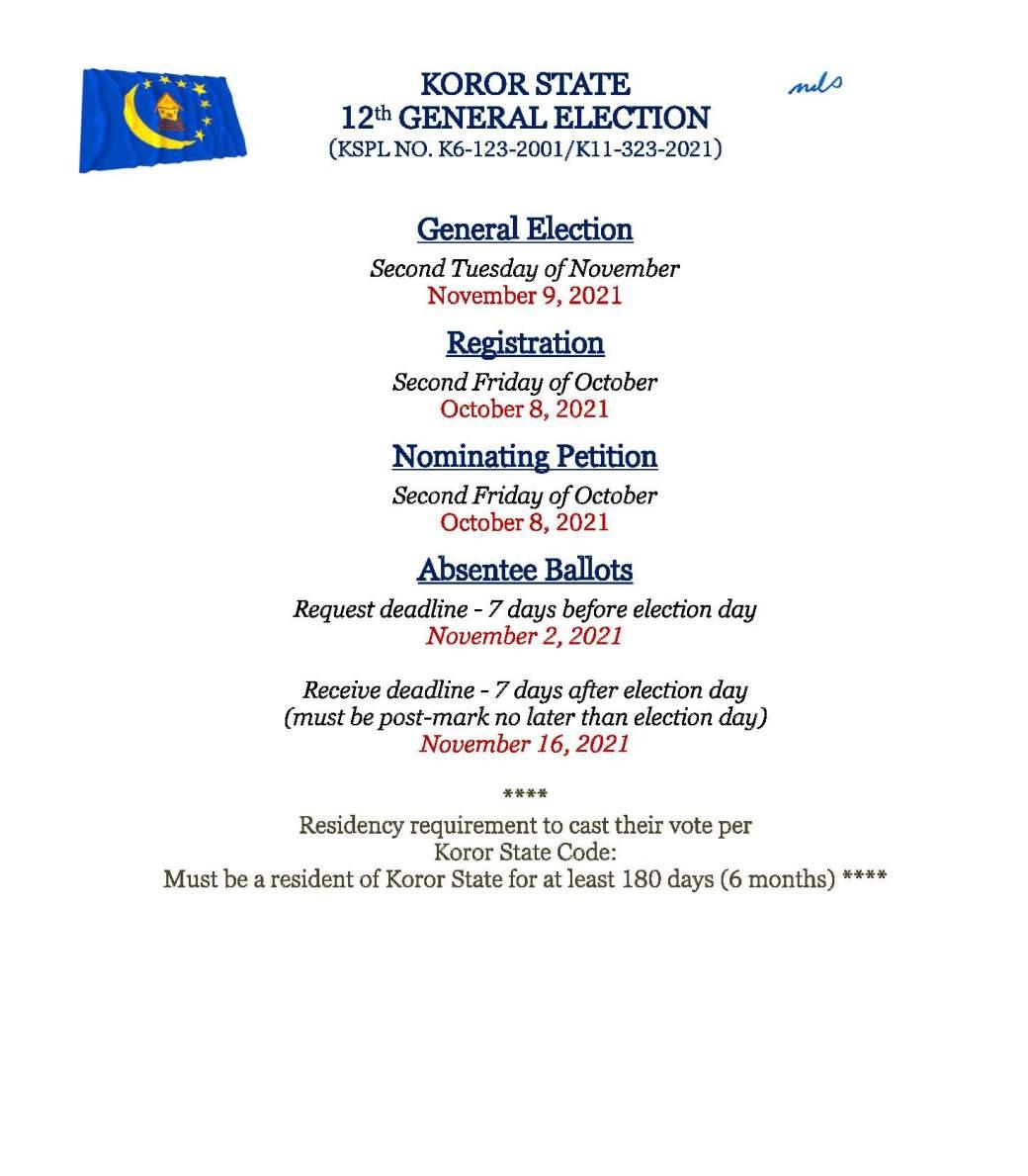 GENERAL ELECTION DEADLINE DATES
