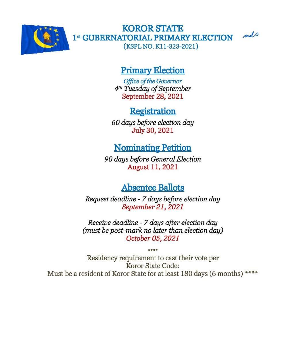PRIMARY ELECTION DEADLINE DATES